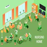 Nursing Home Care Interior Isometric. Nursing home residents room interior isometric view with residents playing chess reading and physical activities vector vector illustration