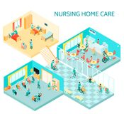 Nursing Home Care Isometric Composition. Nursing home care facility isometric composition with hall daily activities communication room canteen and bedroom vector illustration