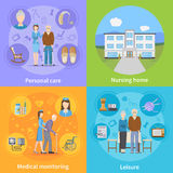 Nursing Home 2x2 Design Concept. With personal elderly care medical monitoring and pensioners leisure compositions flat vector illustration Stock Photos