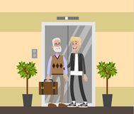 Nursing home interior. Nursing home interior with senior people and assistants Royalty Free Stock Photography
