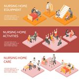 Nursing Home Isometric Horizontal Banners. Nursing home 3 horizontal infographic elements isometric banners set with equipment and daily activities isolated royalty free illustration
