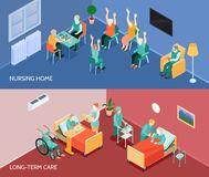 Nursing Home Isometric Horizontal Banners. Nursing home long-term care unit 2 horizontal banners with daily activities and feeding assistance isolated vector Royalty Free Stock Photos