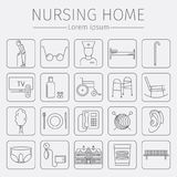 Nursing Home line icon. Medical Care for The Elderly. Symbols of Older People Vector illustration. Royalty Free Stock Image