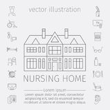 Nursing Home line icon. Medical Care for The Elderly. Symbols of Older People Vector . Royalty Free Stock Photo