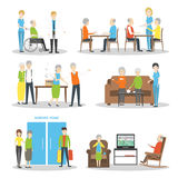 Nursing home set. Nursing home set on white background. Seniors and helpers. People relax and do hobbies Stock Photography