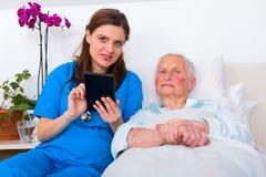 Nursing home technology stock images