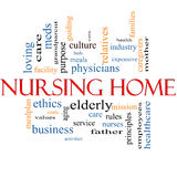 Nursing Home Word Cloud Concept. With great terms such elderly, care, loving, aging as and more Royalty Free Stock Images