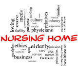Nursing Home Word Cloud Concept in red and black. With great terms such elderly, care, loving, aging as and more Royalty Free Stock Photography