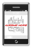 Nursing Home Word Cloud Concept on Touchscreen Phone Stock Photos