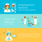 Nursing medical flat banners template set vector infographics. Nursing medical concept flat icons banners template set perioperative geriatric education Stock Illustration