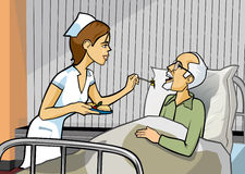 Nursing. Nurse serving a food to an elderly man with grey hair and goatee laying in a hospital bed Stock Images