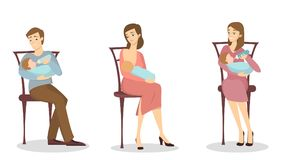 Nursing parents set. vector illustration