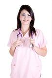 Nursing proud. Nursing smiling in uniform holding stethoscope Stock Images
