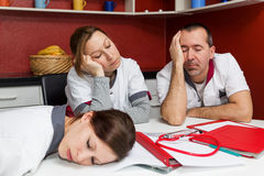 Nursing staff suffering from burnout. Concept tired nursing staff suffering from burnout stock images