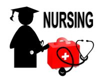 Nursing student nurse school graduate graduation grad stethoscope first aid kit medical illustration icon Royalty Free Stock Images