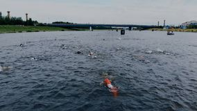 NurSultan_Kazahstan_-_June_17_2018_Ironman 70.30. Aerial shoot of triathletes in open water. Camera moves above swimmers stock video footage