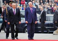 Nursultan Nazarbajev和Vaclav Klaus 免版税库存图片