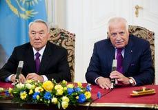 Nursultan Nazarbajev和Vaclav Klaus 免版税库存照片
