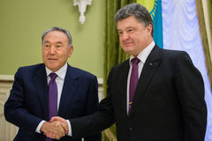 Nursultan Nazarbayev and Petro Poroshenko Royalty Free Stock Photo
