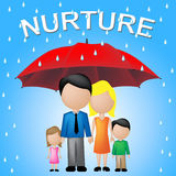 Nurture Kids Shows Umbrellas Supporting And Offspring Stock Photos