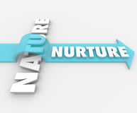 Nurture Vs Nature Arrow Over Word Psychology. The word Nurture riding an arrow over Nature to symbolize the importance of parenting and societal factors in Stock Photos