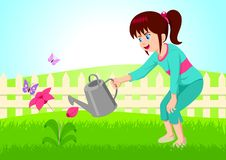 Nurturing. Cartoon illustration of little girl watering the flower Stock Images