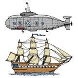 Nury od Militarnej łodzi podwodnej lub podwodnej łodzi z peryskopem głęboki morze statek wycieczkowy lub żaglówki ilustracja royalty ilustracja