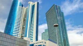 Nurzhol大道timelapse hyperlapse 现代新的办公楼在共和国的首都 阿斯塔纳卡扎克斯坦 股票视频