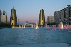 Nurzhol-Boulevard bei Sonnenuntergang astana kazakhstan Lizenzfreies Stockfoto
