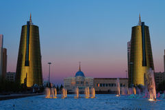 Nurzhol Boulevard at sunset. Astana. Kazakhstan Stock Photography