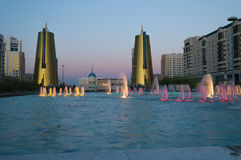 Nurzhol Boulevard at sunset. Astana. Kazakhstan Royalty Free Stock Photo