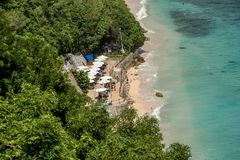 Nusa Dua Uluwatu met mooie klippen en stranden in Bali, Indo royalty-vrije stock foto's