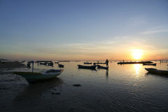 Nusa lembongan sunset boats bali indonesia Royalty Free Stock Photo