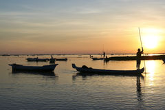 Nusa lembongan sunset boats bali indonesia Royalty Free Stock Image