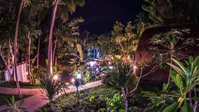 Nusa Penida Indonesia Beautiful Palm Resort Pool Night Timelapse 4k. Timelapse of a beautiful resort on the Nusa Penida island stock video footage
