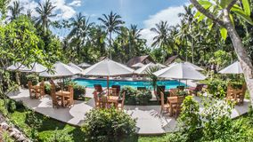 Nusa Penida Indonesia Beautiful Palm Resort Pool Timelapse 4k. Timelapse of a beautiful resort on the Nusa Penida island stock video