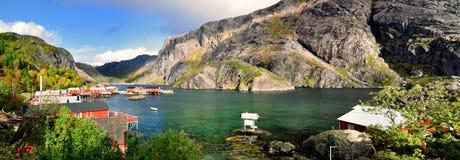 Nusfjord全景 免版税库存图片