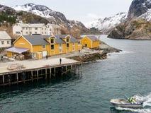 Nusfjord港口, Lofoten,挪威 免版税图库摄影