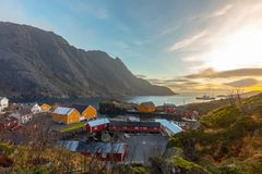 Nusfjord fishing village in Flakstad municipality in Nordland county, Norway stock photography