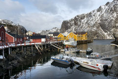 Nusfjord harbor in the winter time on the Lofoten Islands, Norwa Stock Images