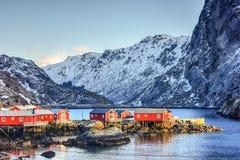 Nusfjord, islas de Lofoten, Noruega imagen de archivo