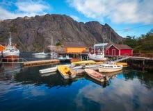 Nusfjord Łowi Villange w Norwegia Zdjęcia Royalty Free