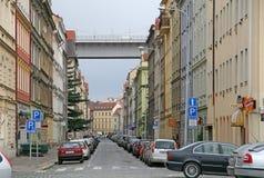 Nusle-Brücke in Prag - konkreter Viadukt in Prag, überschreiten über den Bezirk von Nusle in Prag 4 Stockfotos