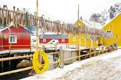 Nussfjorddorp, Lofoten-Eilanden De winter ruw landschap in Lofoten-Archipel stock foto's