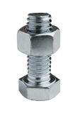 Nut attached to Bolt. Isolated from background Royalty Free Stock Photo