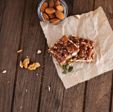 Nut bar with nuts Royalty Free Stock Images
