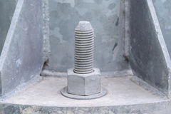 nut into the base of a metal pillar Stock Image