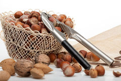 Nut basket. And nut cracker on still life table Royalty Free Stock Photography
