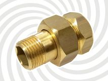 Nut and bolt. A closeup of a brass nut and bolt fitted together with a grey swirl background stock photography
