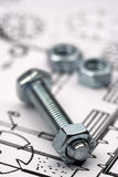 Nut and bolt. Close up with shallow Dof stock photos
